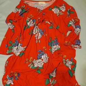 Womens dress red floral